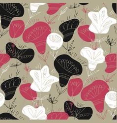 folk flowers hand drawn seamless pattern vector image