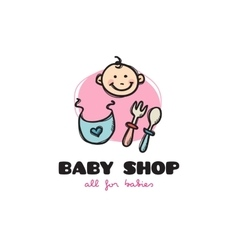 funny cartoon style baby shop logo Sketchy vector image