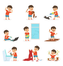 funny little kid playing games and making mess vector image