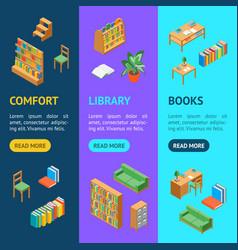furniture for library 3d banner vecrtical set vector image