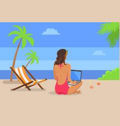 Girl-freelancer works on laptop at tropical beach vector