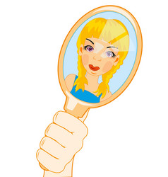 Girl looks at oneself in mirror vector