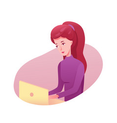 Girl working on laptop flat vector