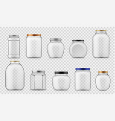 Glass jars empty clear containers different sizes vector