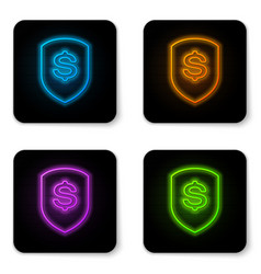 glowing neon shield and dollar icon isolated on vector image
