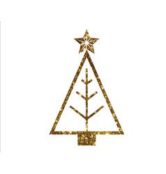 Golden glitter christmas tree line icon vector
