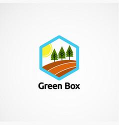 Green box logo designs concept icon element and vector