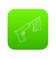 gun with flag toy icon green vector image