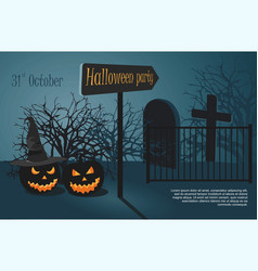 halloween party on night cemetery vector image