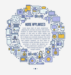 Home appliances concept in circle vector