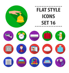 hotel set icons in flat style big collection of vector image