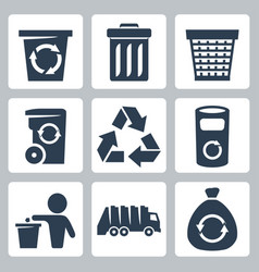isolated garbage icons set vector image