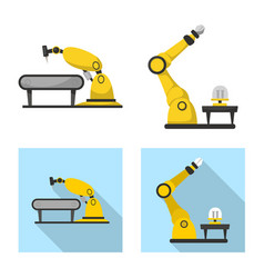 Isolated object of robot and factory logo vector