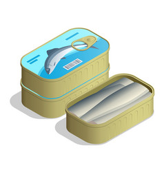 isometric can sardines canned sardine cans vector image