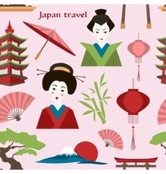 Japan travel pattern vector image
