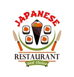 Japanese food restaurant icon Best Choice label vector image