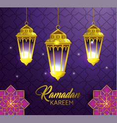 Lamps hanging with geometric flowers to ramadan vector