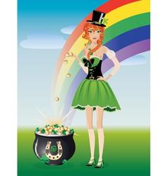 Leprechaun girl with pot of gold vector