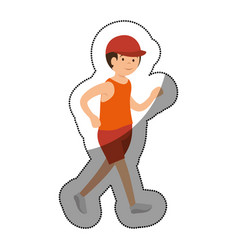 Man athlete running avatar character vector