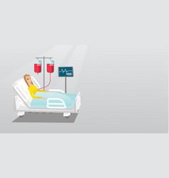 man lying in hospital bed vector image