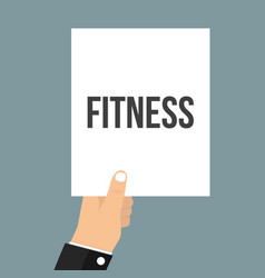 man showing paper fitness text vector image