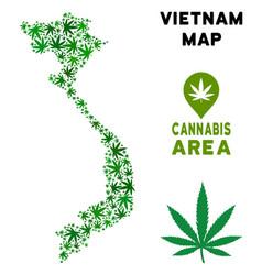 Marijuana mosaic vietnam map vector