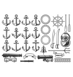 marine nautical heraldry constructor icons vector image
