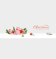 merry christmas header minimal decorative design vector image