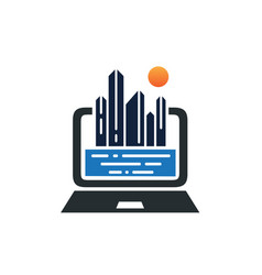 monitor screen computer with buildings real vector image