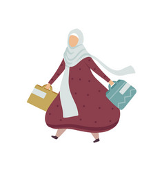 muslim woman walking with shopping bags modern vector image