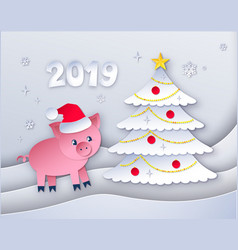 new year tree and cute pig character vector image