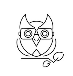 owl with glasses sitting on a branch logo vector image