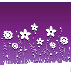 Paper cut flowers on ultraviolet background vector