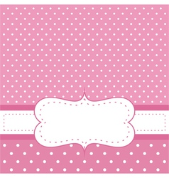 Pink invitation card with polka dots vector