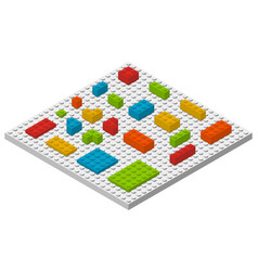 plastic colorful constructor blocks and bricks vector image