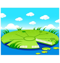 Pond background vector image