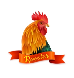 Red Rooster Head Profile Colorful Image vector