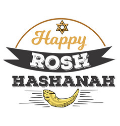 rosh hashanah text lettering happy jewish new vector image