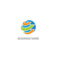 round arrow curve business logo vector image