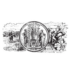 Seal of the territory of wyoming 1904 vintage vector