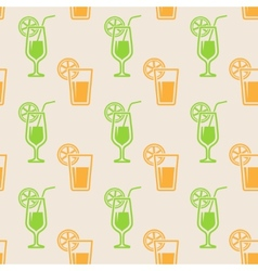 seamless background with glasses of juice vector image