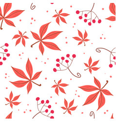seamless pattern of autumn leaves and berries vector image