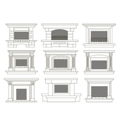 Set of fireplace icons and fireplace design vector
