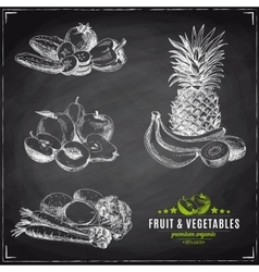 Set of fruit and vegetables vector