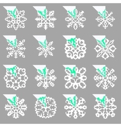 Set of stencil ornaments for hand made snowflake vector