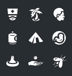 set zik virus icons vector image
