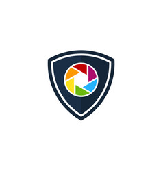 shield camera logo icon design vector image