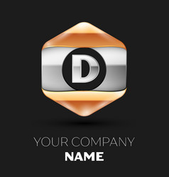 Silver letter d logo in silver-golden hexagonal vector