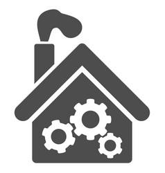 Smoking garage factory icon vector