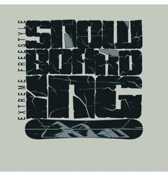 Snowboarding winter sport emblem T-shirt vector